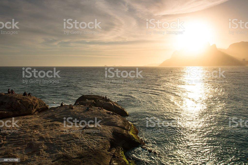 Sunset from Arpoador stock photo