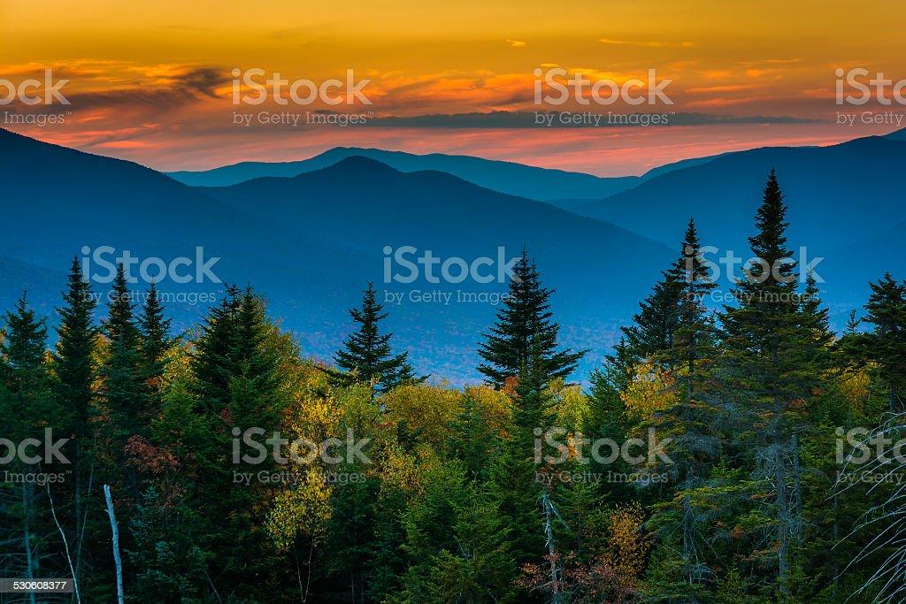 Sunset from  Kancamagus Pass, on the Kancamagus Highway in White stock photo