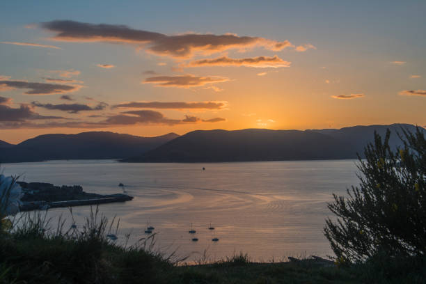 sunset from lyle hill greenock stock photo