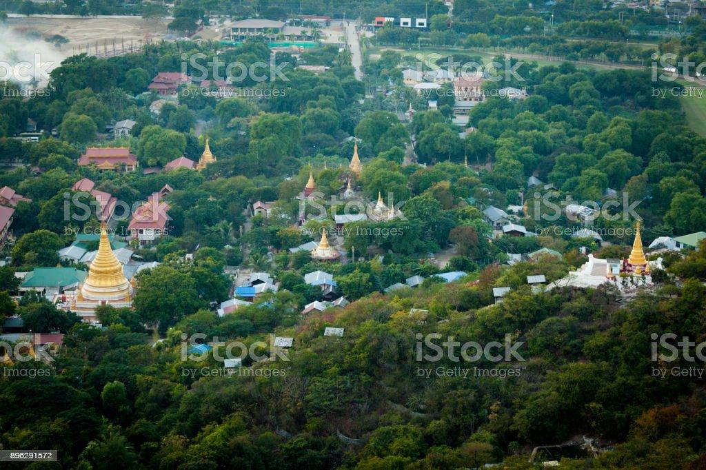 Sunset from Mandalay Hill in Burma stock photo