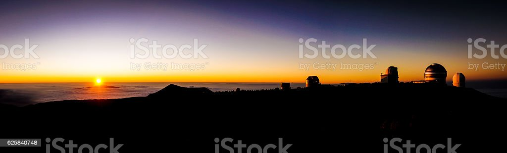 Sunset from Mauna Kea Hawaii stock photo