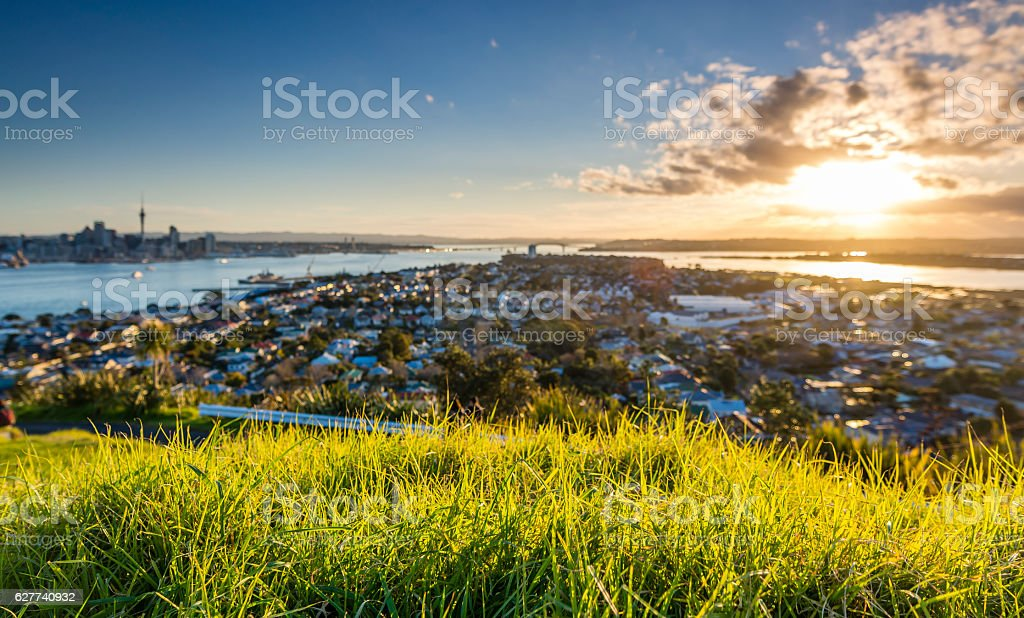 Sunset from Mount Victoria stock photo