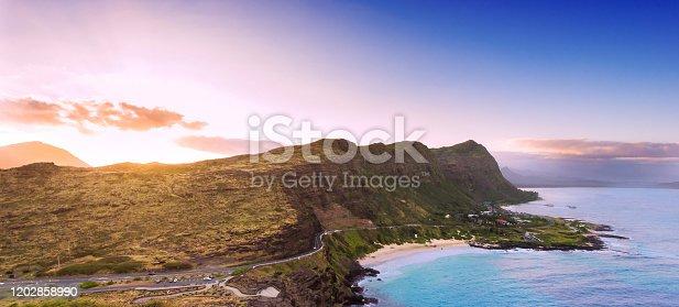 Sunset from Oahu's Ka Iwi shore overlooking Makapu'u Beach on Oahu's southern coastline outside Waikiki