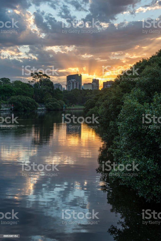 Sunset from Parramatta city stock photo