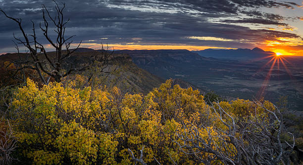 Sunset From Point Lookout Mesa Verde National Park, Cortez, Colorado san juan county colorado stock pictures, royalty-free photos & images