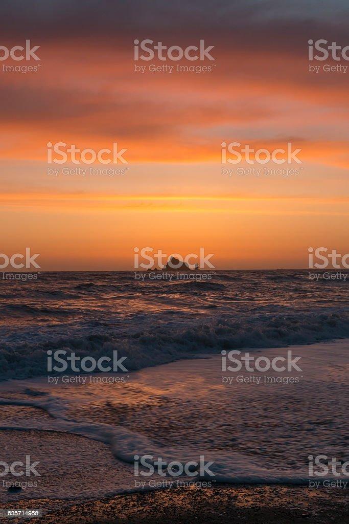Sunset from Rialto Beach in Olympic National Park, Washington. royalty-free stock photo
