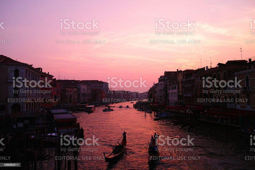 Sunset from Rialto bridge royalty-free stock photo
