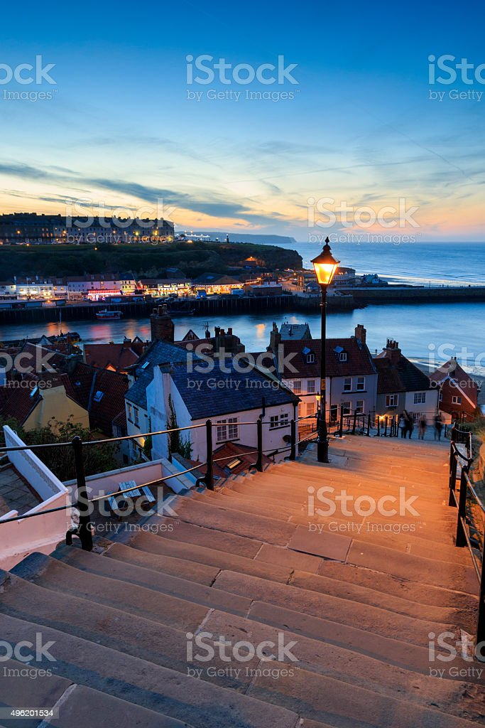 Sunset from the 199 steps whitby stock photo