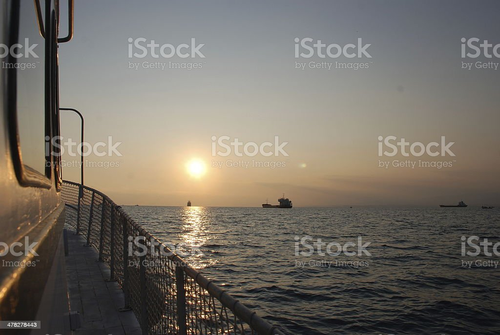 Sunset from the Boat royalty-free stock photo
