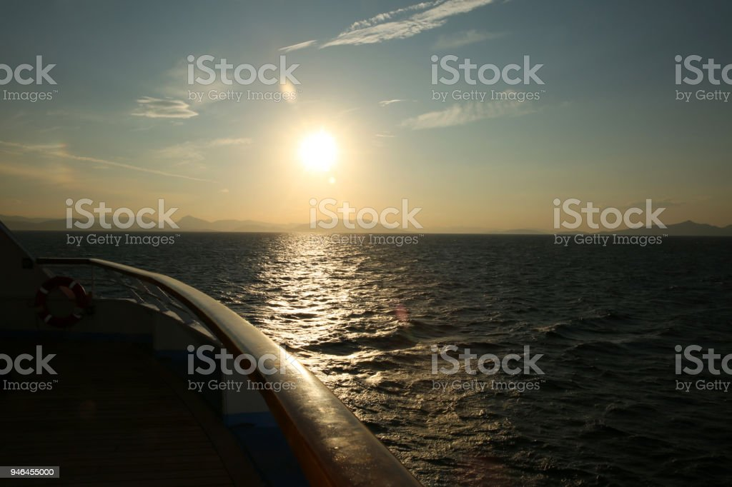 Sunset from the deck of a cruise ship, cruising the Mediteranean Sea.