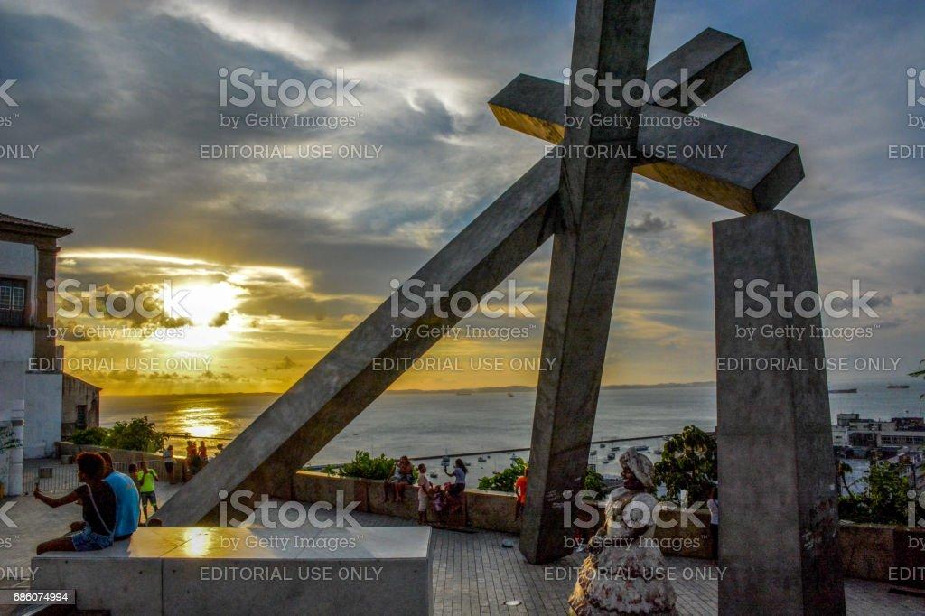 Sunset from the Largo da Cruz Quebrada (Fallen Cross), Pelourinho, Salvador stock photo