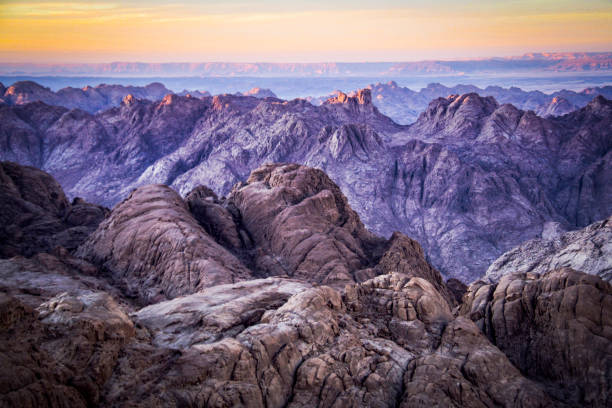 Sunset from the summit of Mt Sinai in the St Catherine area of Egypt stock photo