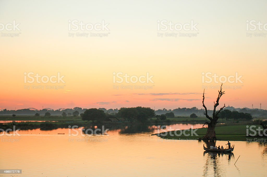 Sunset from U-Bein bridge stock photo