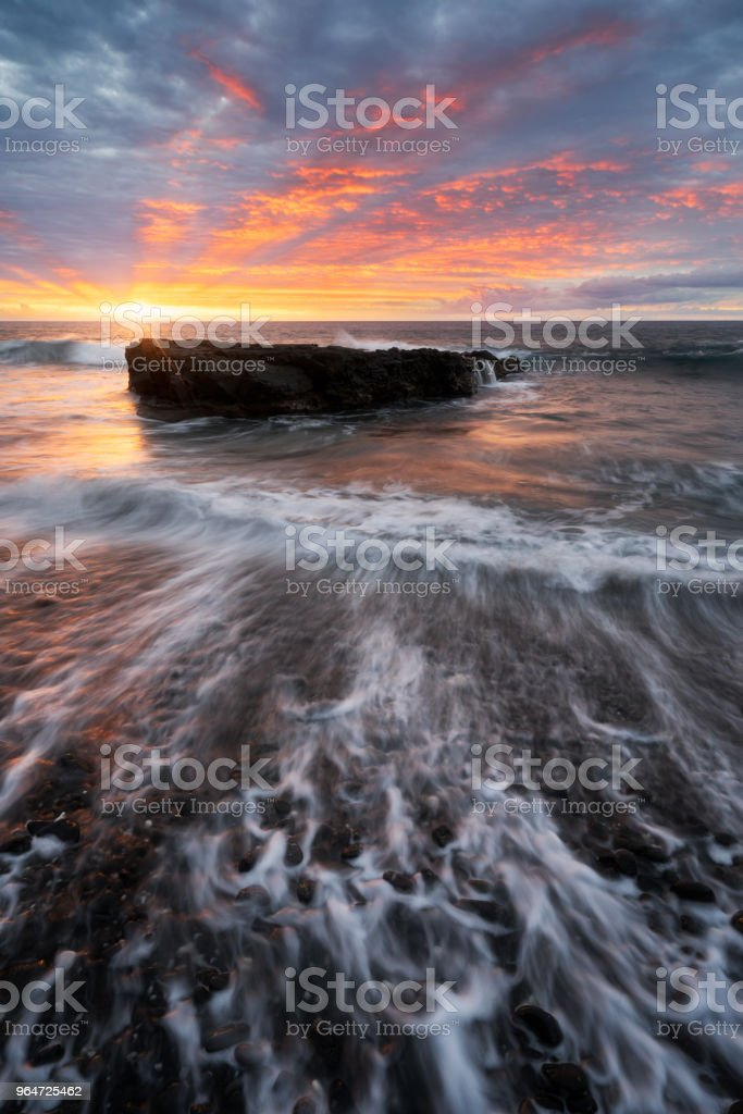 Sunset full of colors at Cap La Houssaye in Saint-Paul, Reunion Island royalty-free stock photo