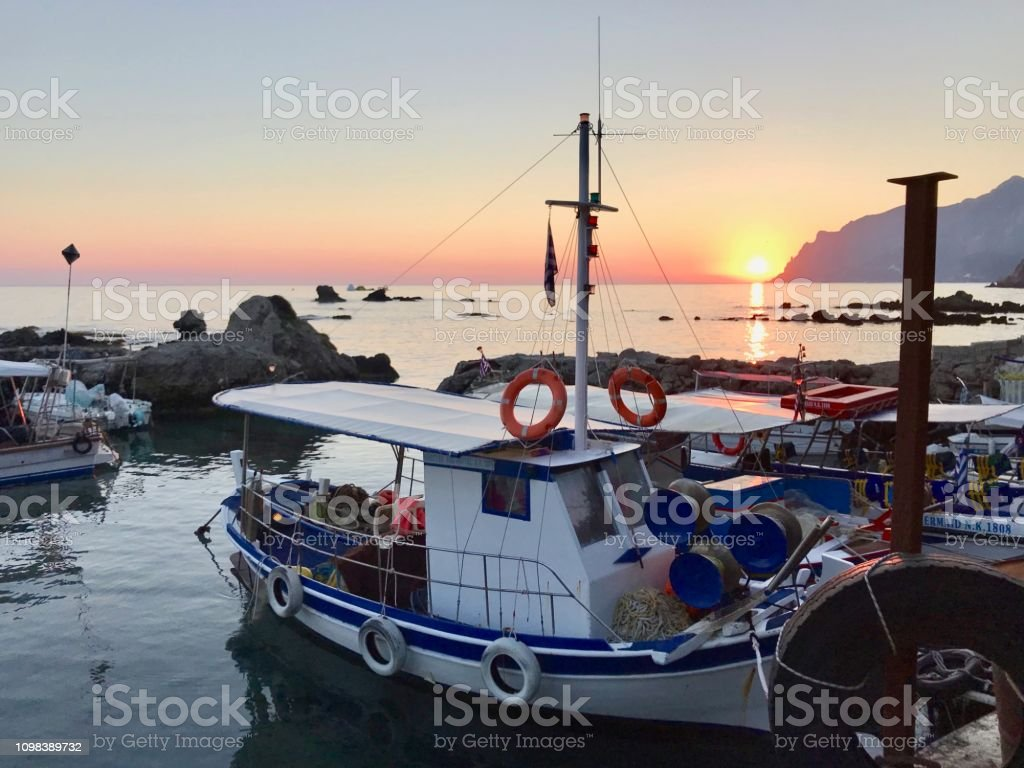 Sunset Gyaliskári, Corfu, Greece stock photo