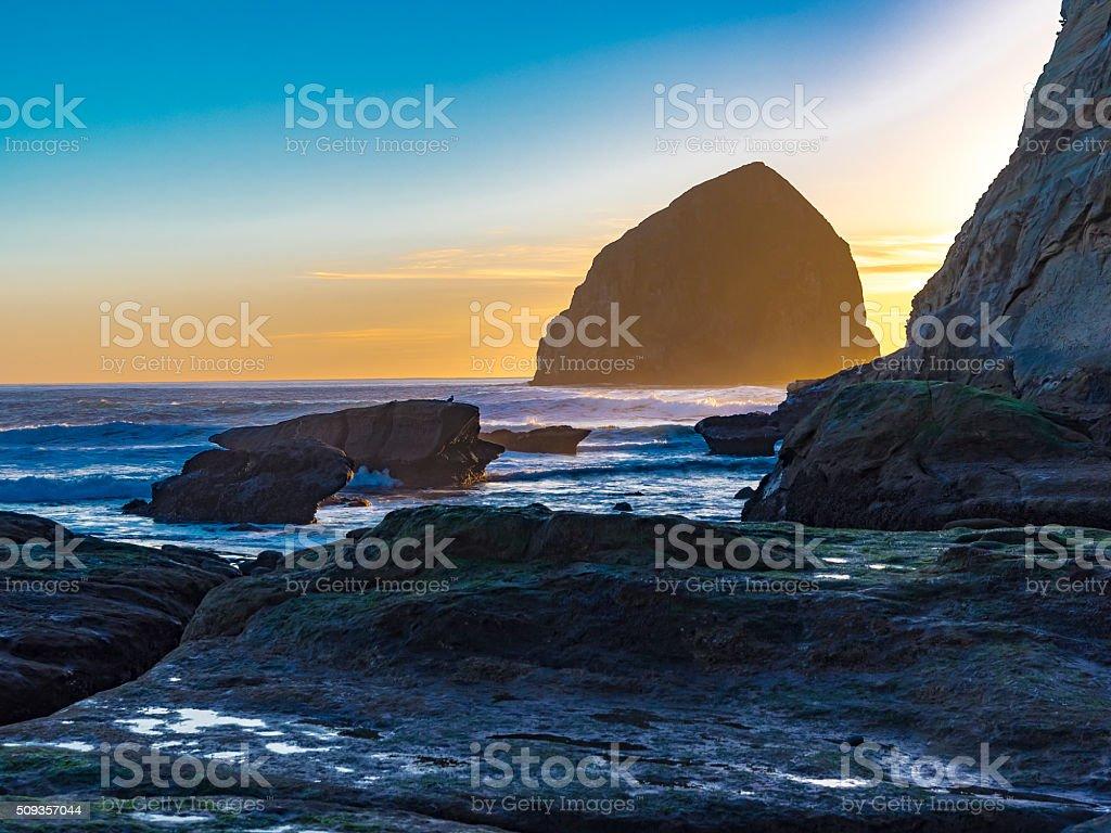 Sunset Haystack Rock Cape Kiwanda Pacific City Oregon From Rocks stock photo