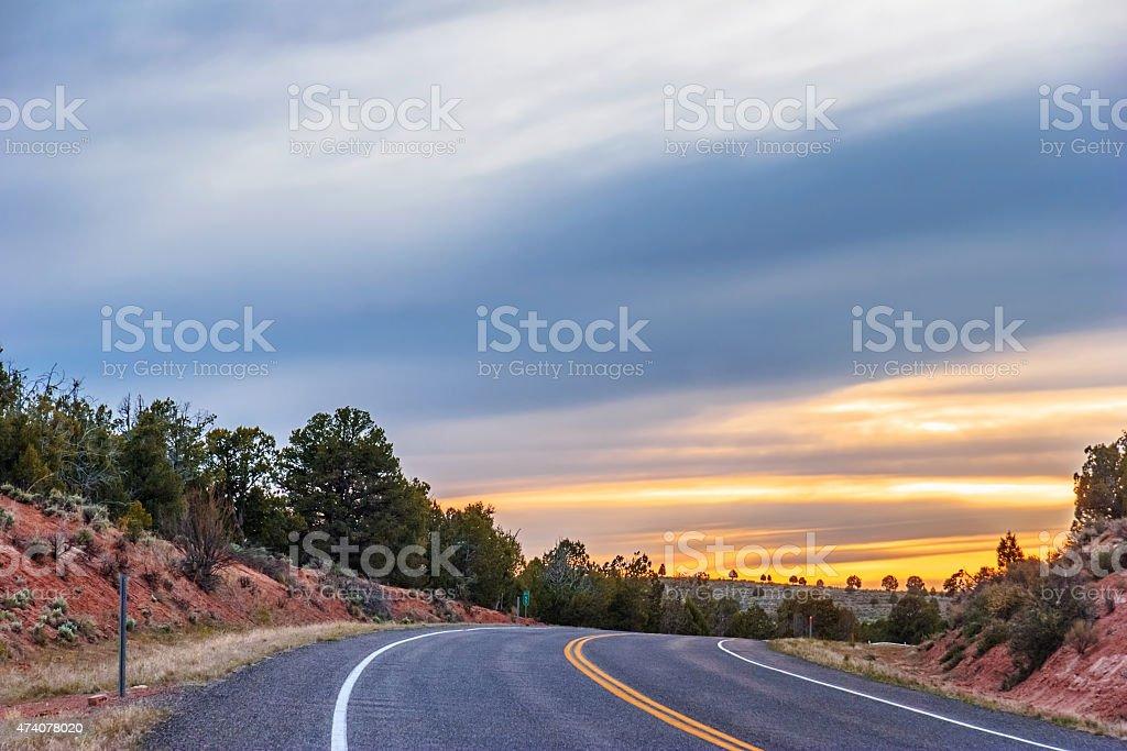 Sunset highway stock photo