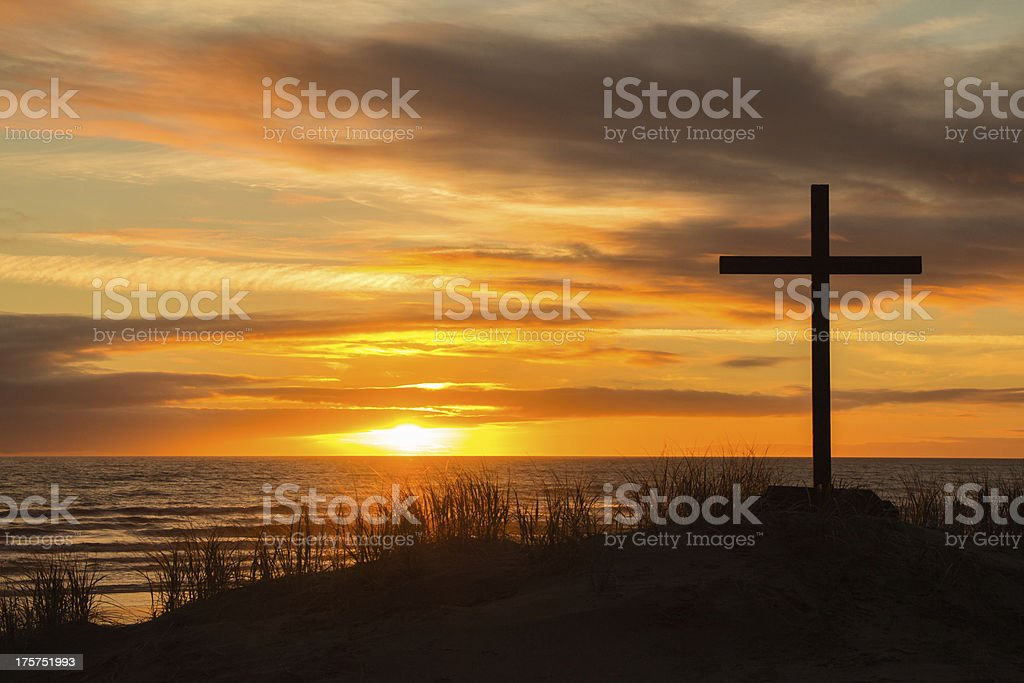 Sunset Hill Cross royalty-free stock photo