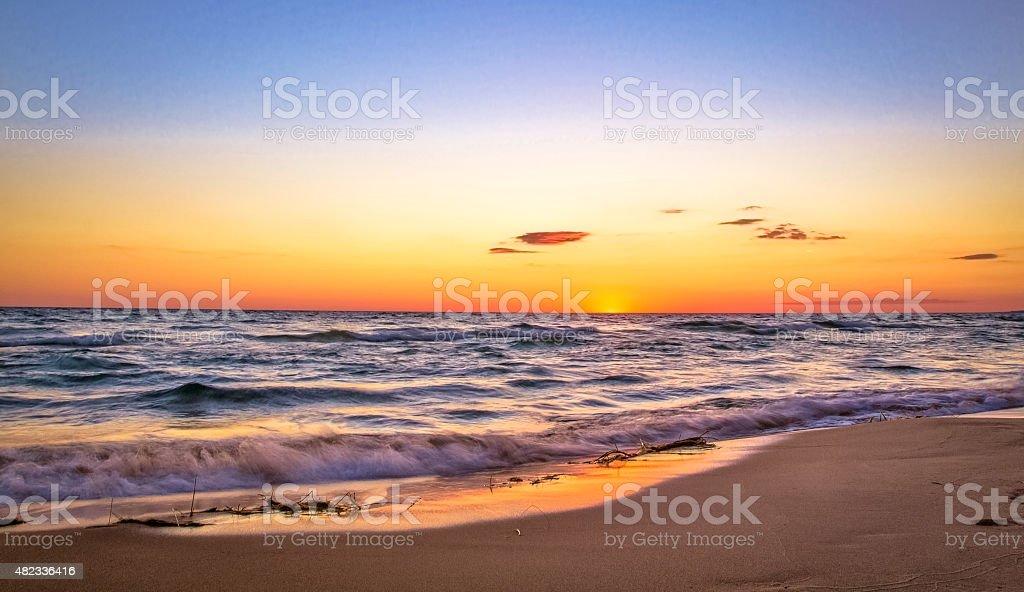 Sunset Horizon Over The Waters Of Lake Michigan stock photo