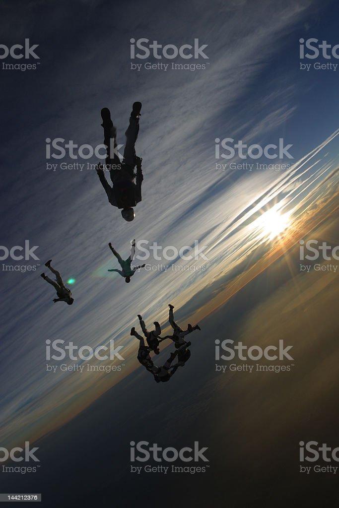 Sunset Human Flight stock photo