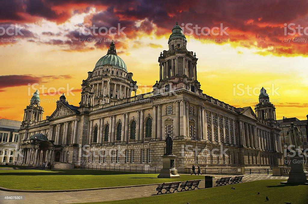 Sunset Image of City Hall, Belfast Northern Ireland stock photo
