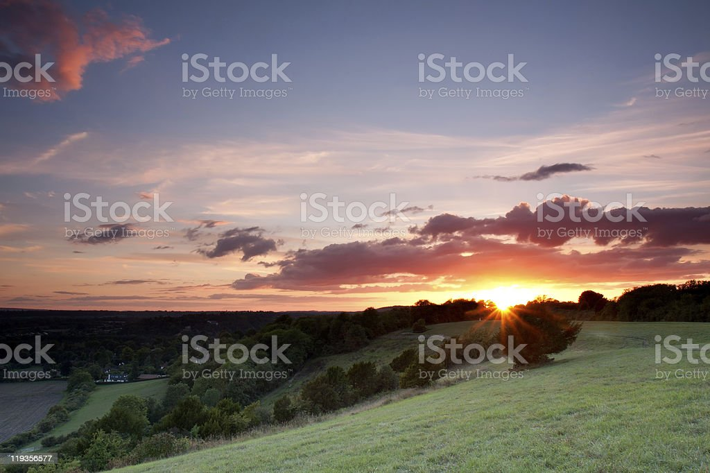 Sunset in a Cloudy Sky stock photo