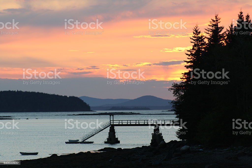 Sunset  in a Maine Harbor stock photo