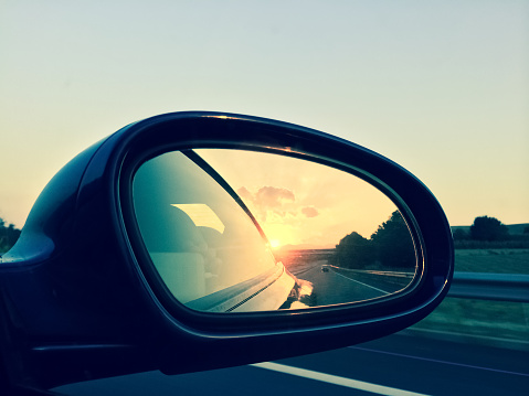 Sunset In A Rear View Mirror Stock Photo - Download Image Now