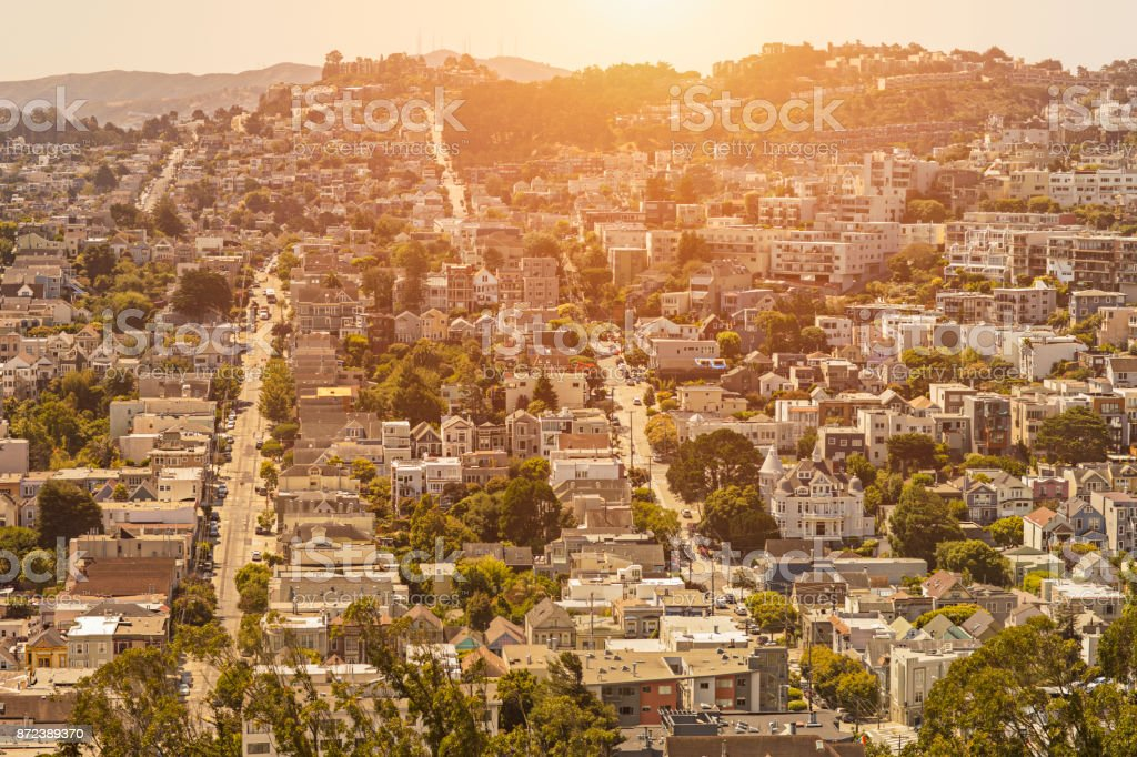 Sunset in a residential District in San Francisco, California stock photo