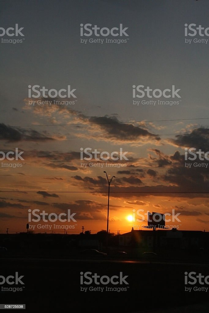 Sunset in a Small Town stock photo