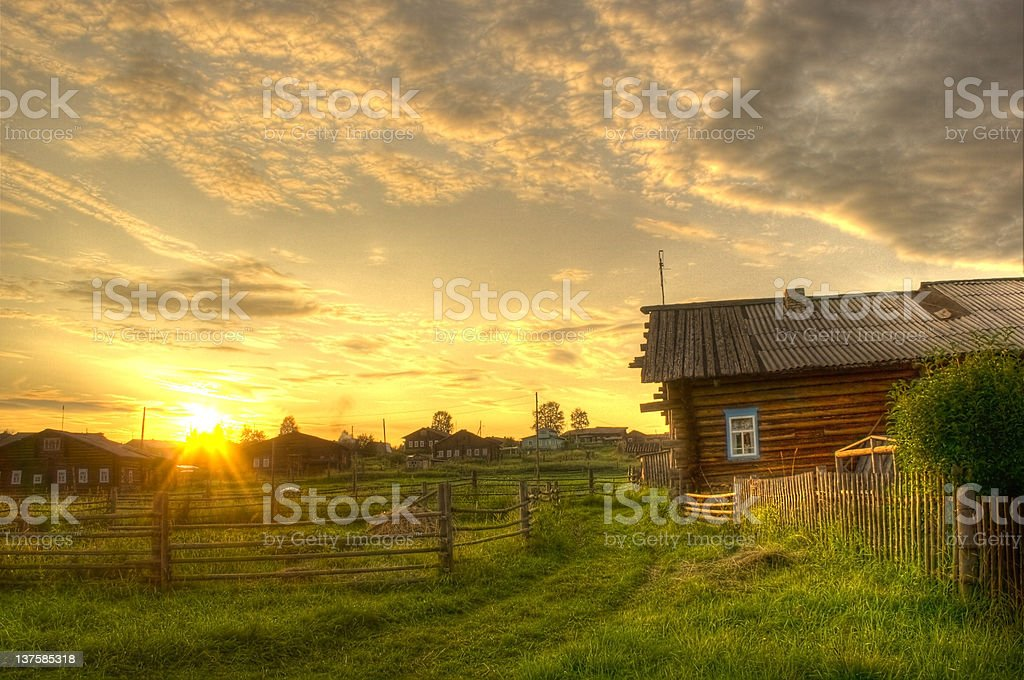Sunset in a village stock photo