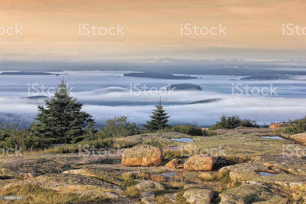 Sunset in Acadia National Park stock photo