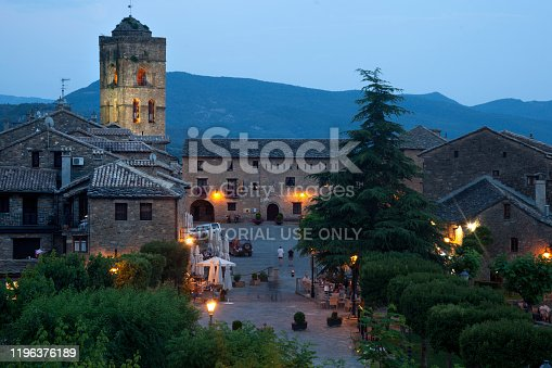 Ainsa, Spain-June 20, 2018: Aínsa is a municipality in the province of Huesca that belongs to the region of El Sobrabe. It is one of the gateways to the Ordesa Valley in the Aragonese Pyrenees.