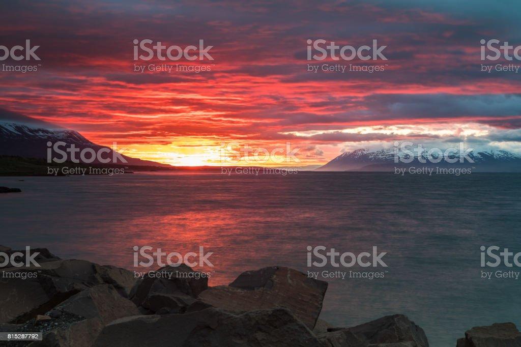 Sunset in Akureyri, Iceland stock photo
