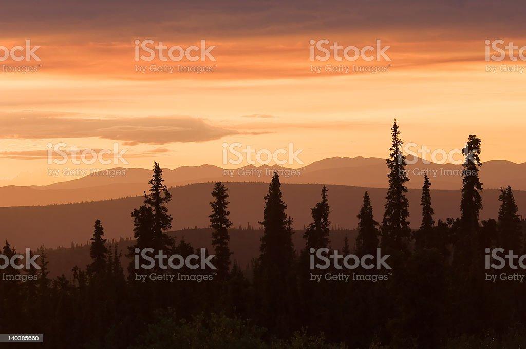 Sunset in Alaska stock photo