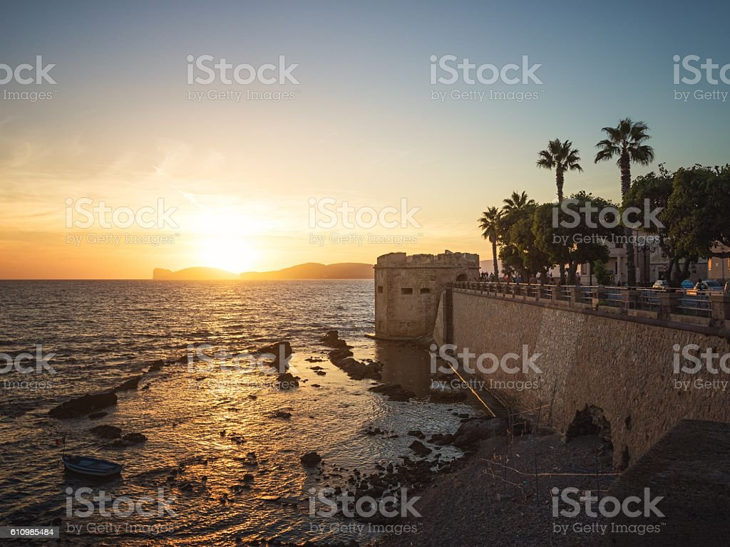 Sunset in Alghero, Sardinia, Italy stock photo