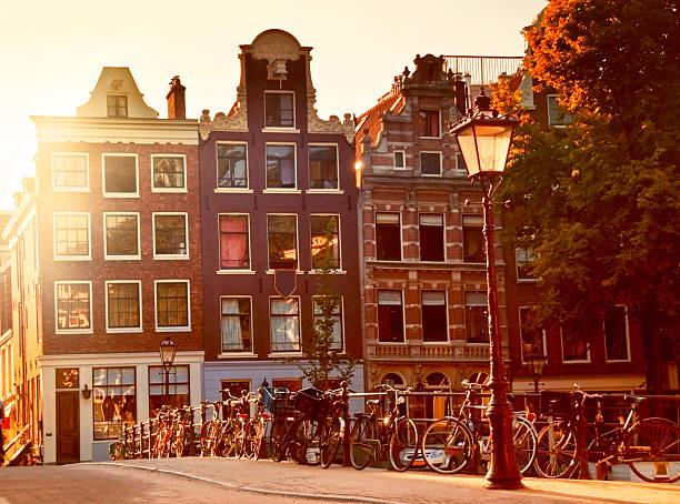 Sunset in Amsterdam stock photo