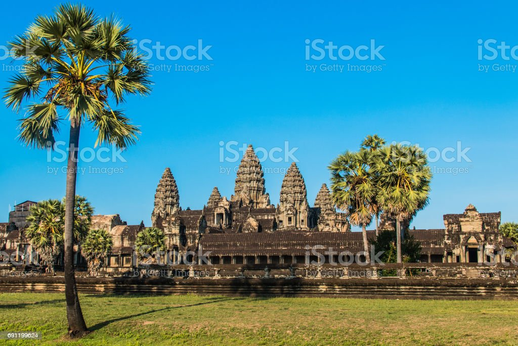 Sonnenuntergang in Angkor Wat stock photo