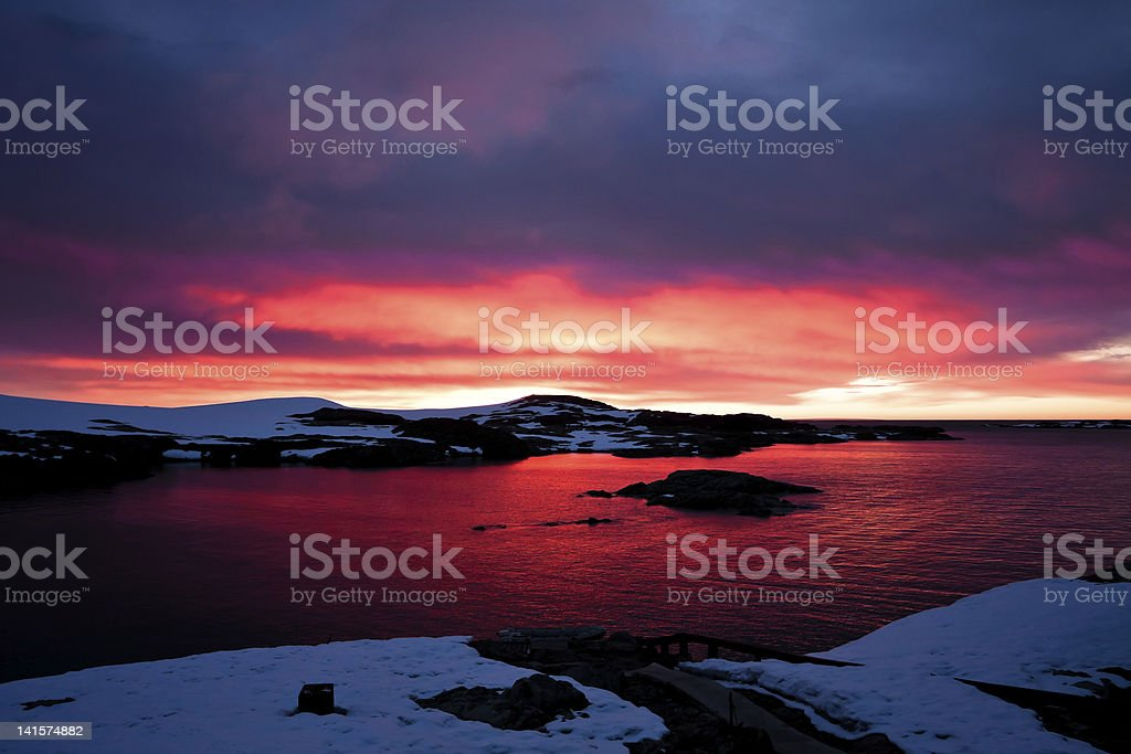 sunset in Antarctica royalty-free stock photo