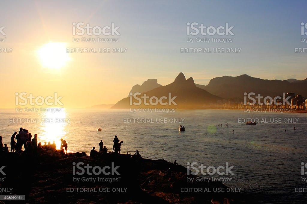 Sunset in Arpoador Beach stock photo