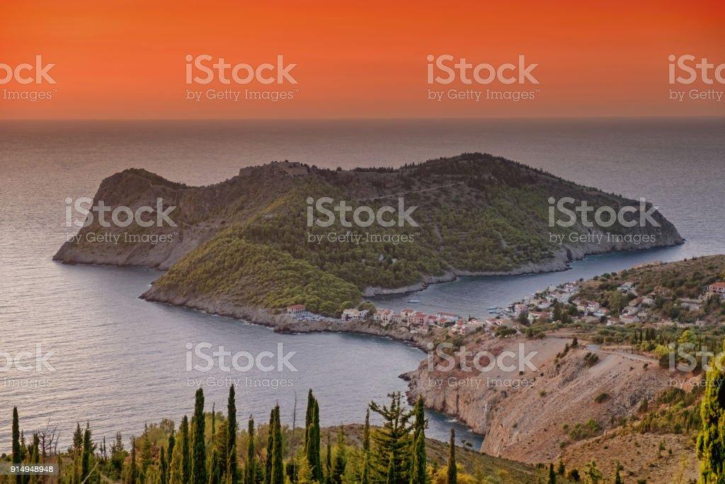 Sunset in Assos, Cephalonia, Greece stock photo
