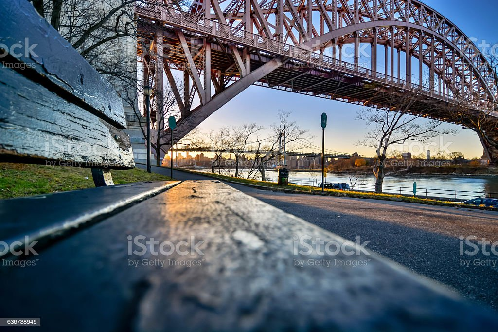 Sunset in Astoria park NYC stock photo