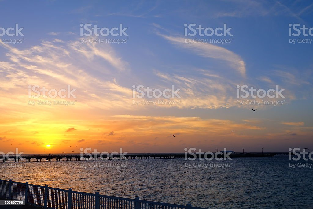 Sunset in Bahamas stock photo