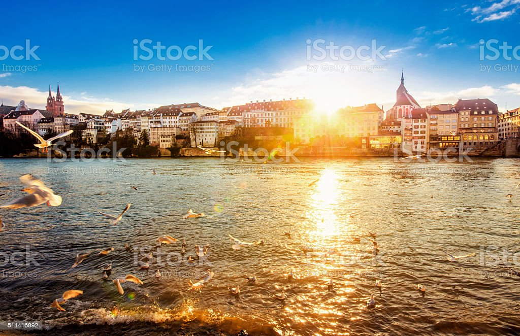 Sunset in Basel stock photo