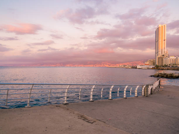 Sunset in Beirut stock photo
