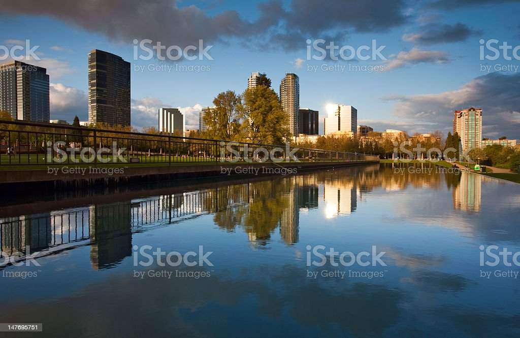 Sunset in Bellevue downtown royalty-free stock photo