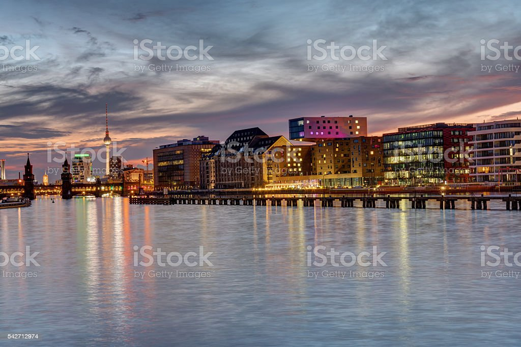 Sunset in Berlin at the River Spree stock photo