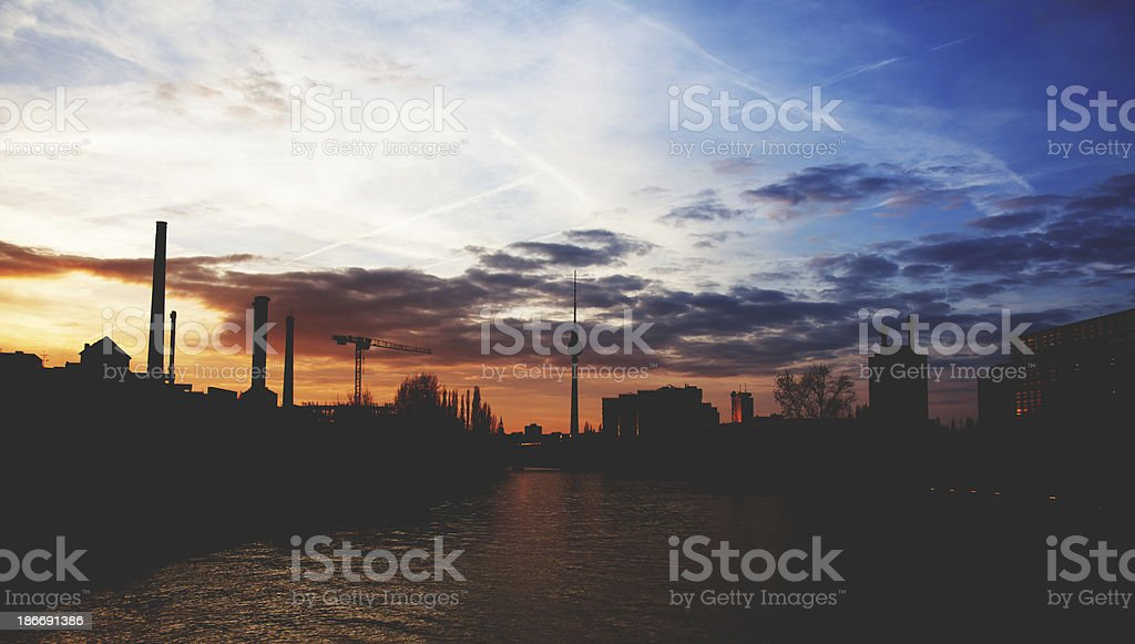 Sunset in Berlin royalty-free stock photo
