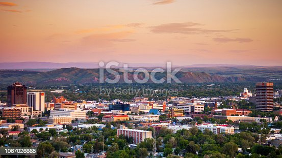 City view at sunset time. Billings, Montana, USA.