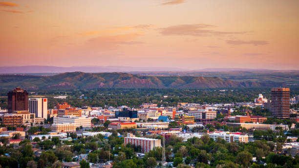 Sunset in Billings, Montana stock photo